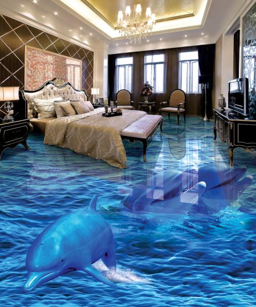 3D Blau Dolphins 521 Floor WallPaper Murals Wall Print 5D AJ WALLPAPER UK Lemon