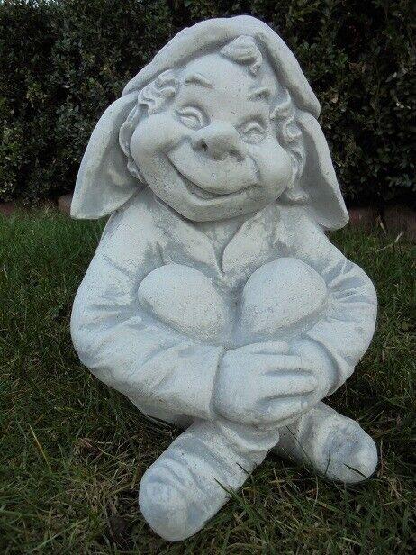 Gartenfiguren, lustiger Gartenzwerg, Kobold, Troll, Steinguss, 30 cm, Gartendeko