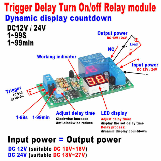DC 12V 24V LED Display Delay Timing Timer Relay Switch Delay Turn ON/OFF Module
