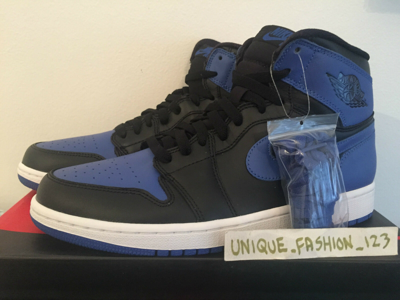 2018 NIKE AIR JORDAN 1 HIGH OG noir ROYAL bleu US 15 14 49.5 B rouge RETRO HI AJ
