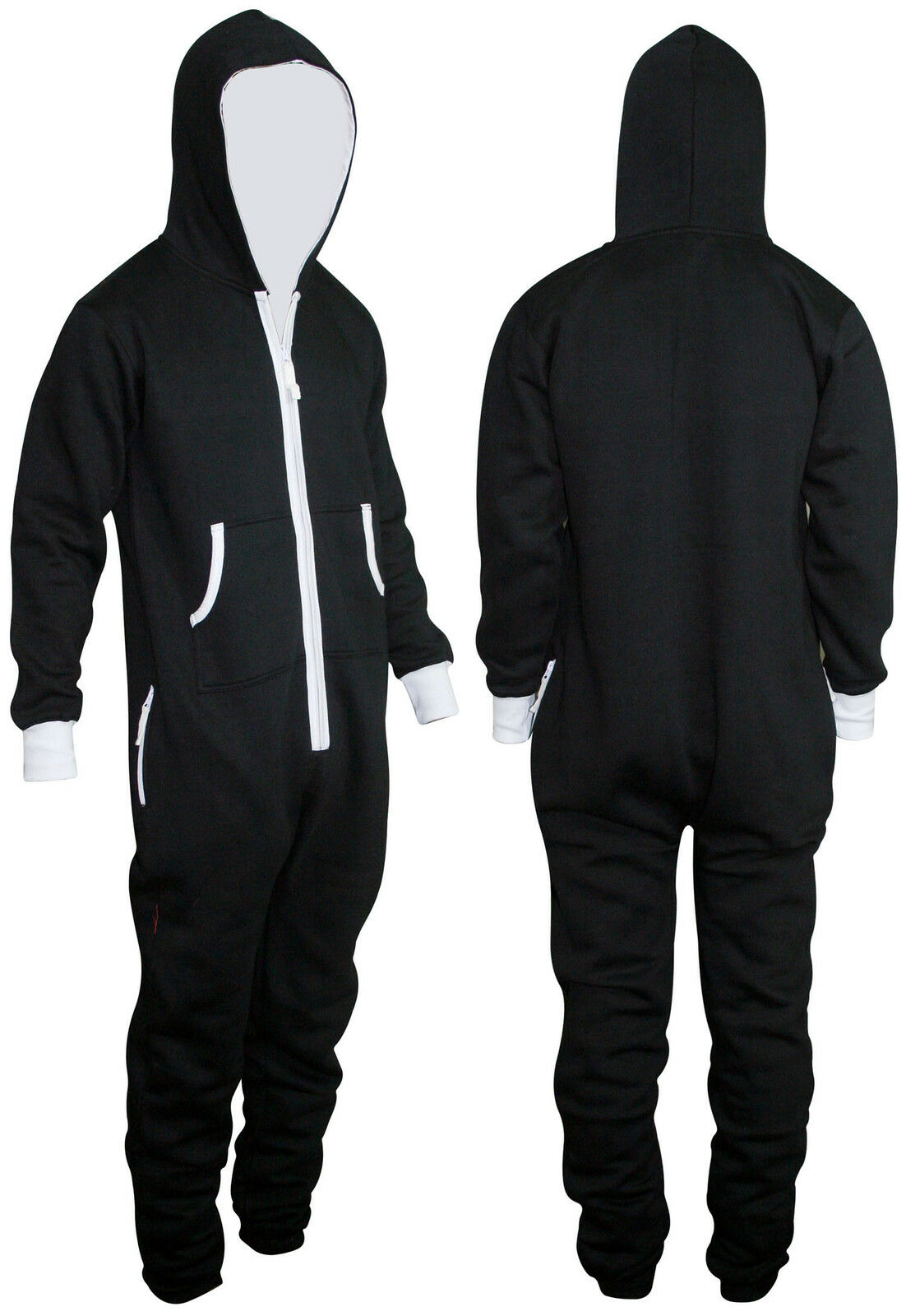 c1220e9d0bc7 Adults Mens Onesie Non Footed Jumpsuit ZIPPER Hoodie Playsuit ...