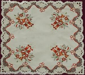"""8 Napkins 3838E Christmas Embroidered Bell Poinsettia Candle Tablecloth 70x90/"""""""