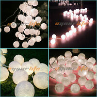 20 White COTTON BALL FAIRY LED STRING LIGHTS WEDDING PARTY CHRISTMAS DECOR NO1