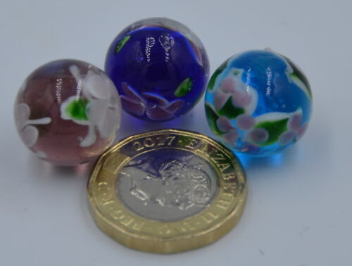 NEW 3 HANDMADE BLUE BROWN /& PURPLE  FLOWER PATTERN WISTERIA GLASS MARBLES 16mm