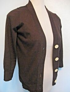 Boden Cardigan Sweater Size 10 Brown With Ivory Buttons Teal Trim