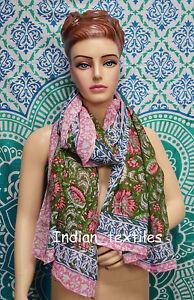 New-Women-Cotton-Long-Sarong-Dupata-Stole-Indian-Hand-Block-Print-Fabric-Scarf