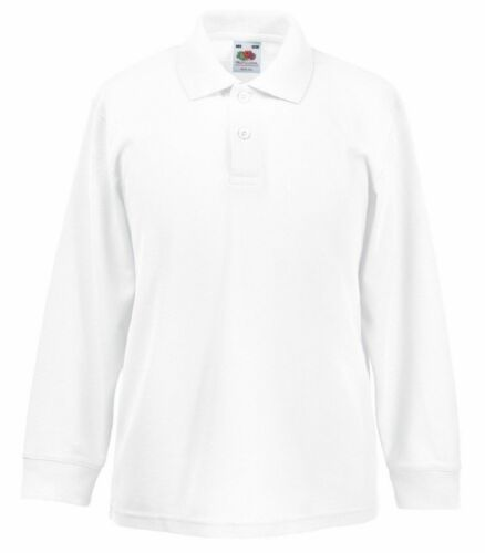 Fruit of The Loom Kids Long Sleeve Childrens School Poly Cotton Piqué Polo Shirt