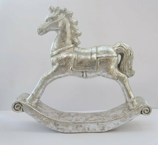 Deko Schaukelpferd (antik silber, große Variante, Weihnachten, Keramik, Xmas)