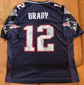 Details about Authentic Reebok New England Patriots Tom Brady #12 Blue Jersey Size Youth XL