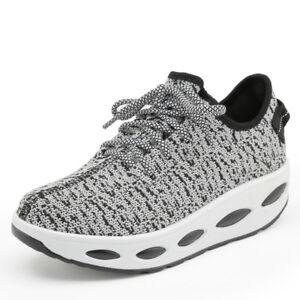 70b3fe53366 Women s Platform Shoes Shape Ups Toning Fitness Sports Lace UP ...