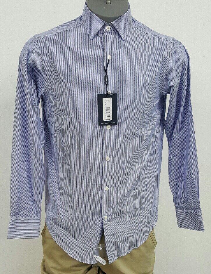 Hart Schaffner Marx bluee White Striped Button Up L S Men's Shirt NWT  S M