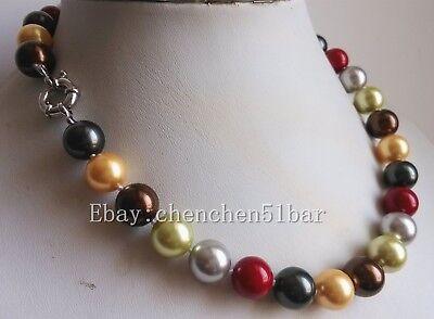 14mm Mehrfarben-Muschelperlen-Hochzeitsfest-Halskette 20 Zoll-Magnetverschluss