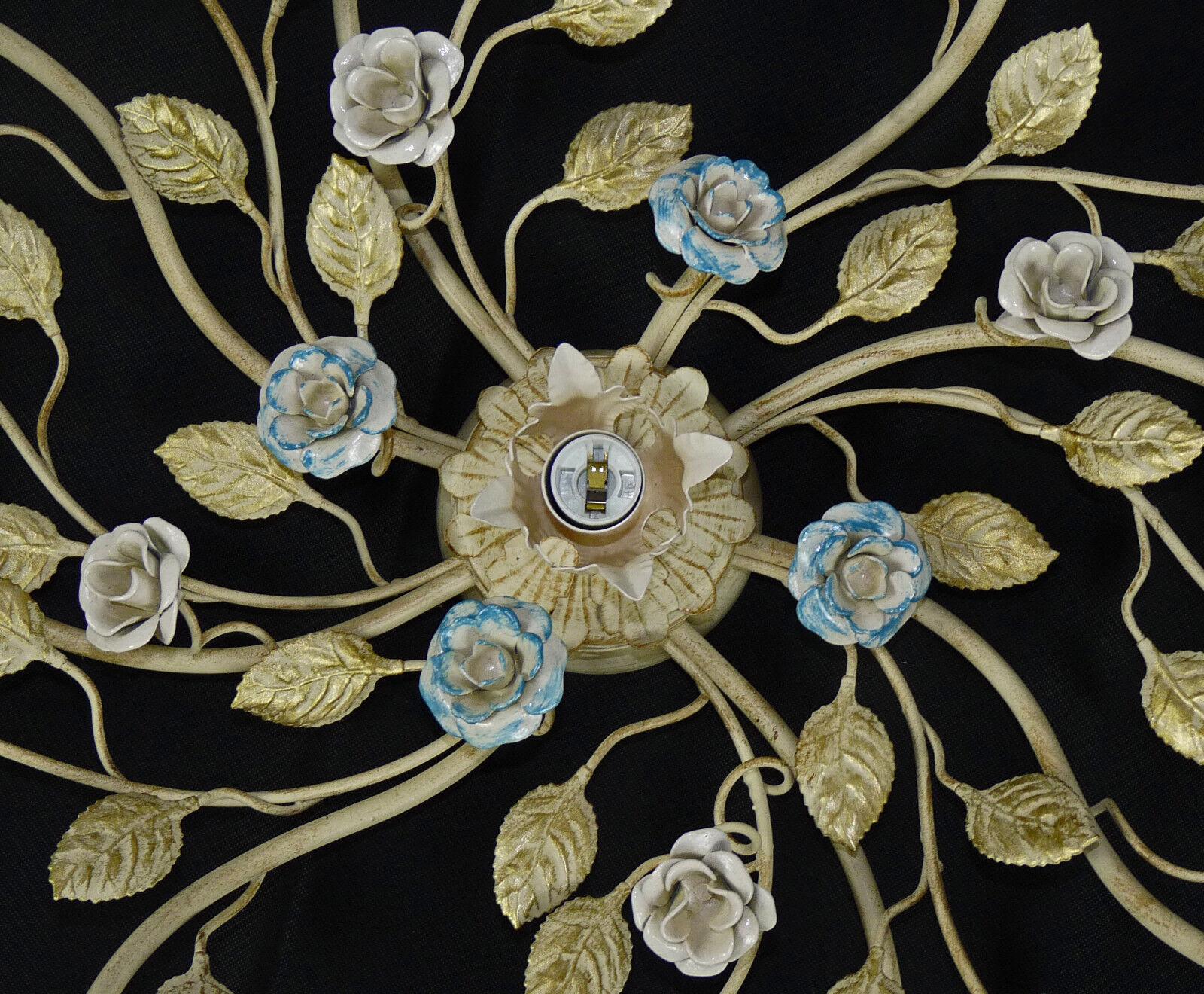 Plafoniera Rustica : Plafoniera antica rustica grande luci ferro