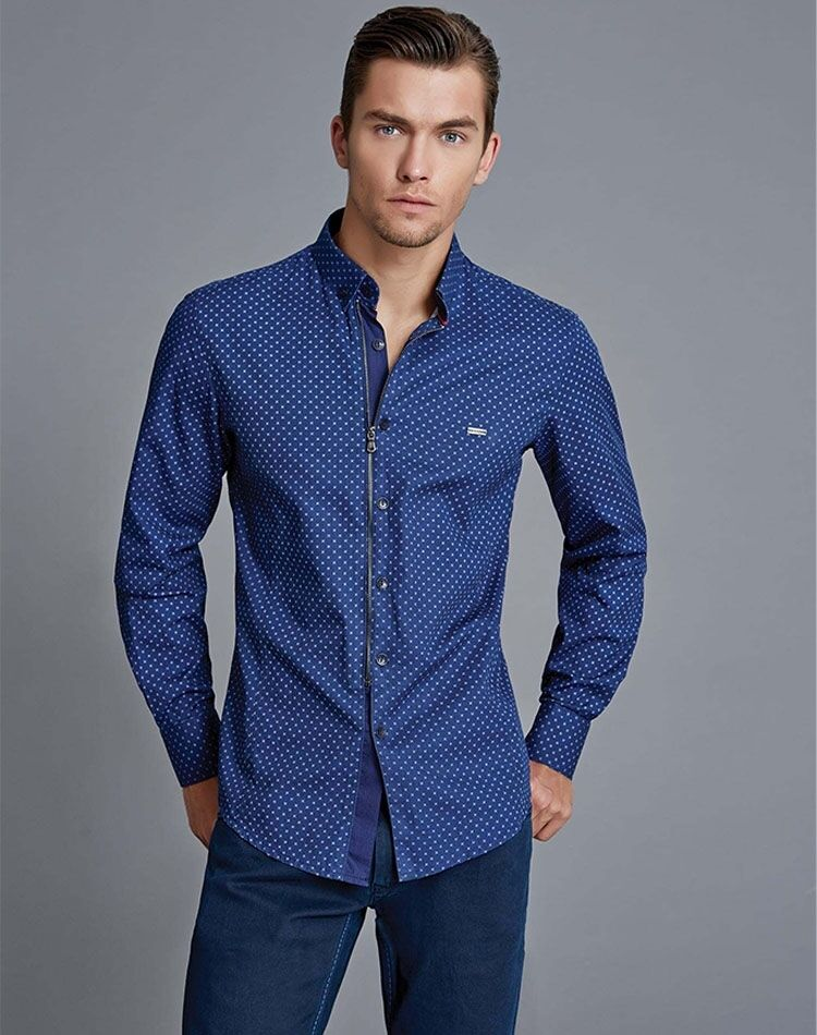 Unique Blau Dress Shirt- Mondo Exclusive G7242 - Blau Zip Größe XL, 2XL, 3XL, 4XL
