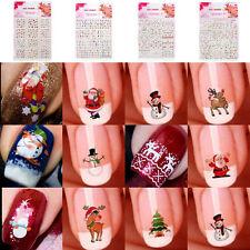12 Sheet Christmas Nail Art Stickers Snowflakes Cute Snowmen Decals