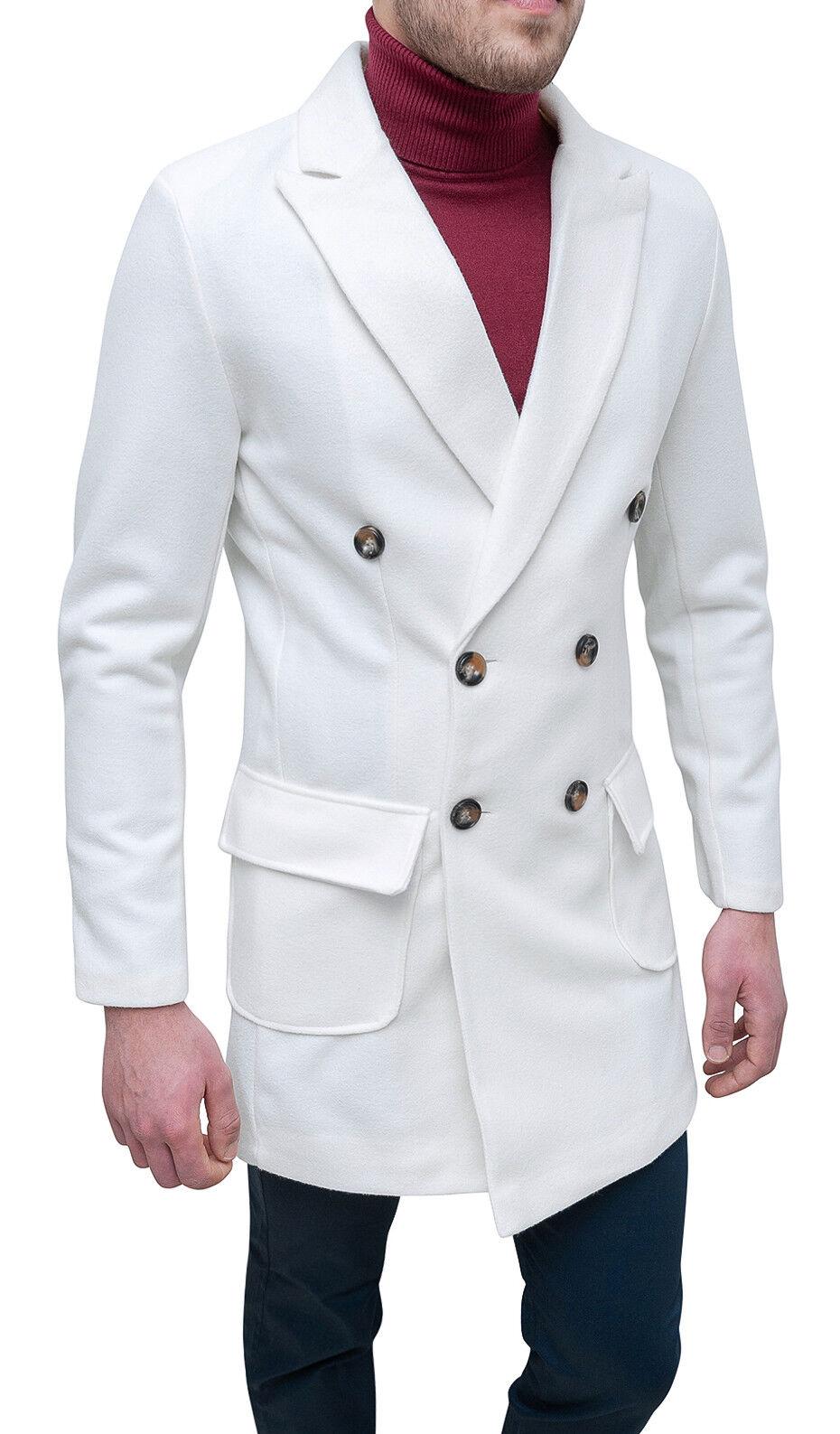 Mantel Herren Diamant Casual Winter Weiß Zweireihig Jacke Mantel Weiß