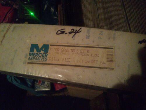 """MERCER ABRASIVES 4.5/"""" X 15.75/"""" HOOK AND LOOP SANDPAPER 24 GRIT 50 PACK"""