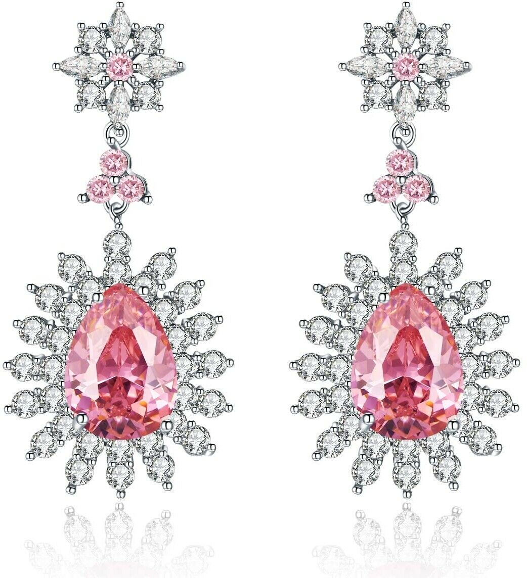 Me and Hz Baby Pink Crystal Earrings Dangle Tear-Drop Large Light Pink Diamond