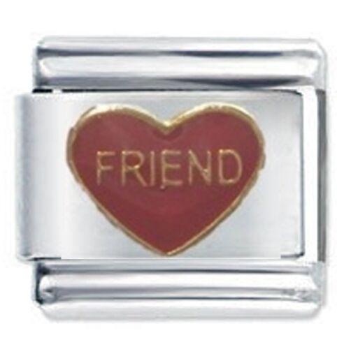Daisy Charms Fits Nomination Classic Size Italian Charm Bracelet FRIEND HEART