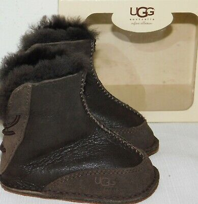 UGG Australia Infant Boo Toddler Kids Bomber Jacket Chocolate Brown Leather Suede Sheepskin Boots
