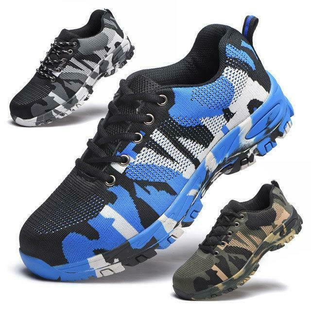 Mens Safety shoes Steel Toe Work Boots Hiking Climbing shoes Camo outdoor shoes