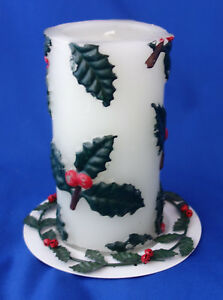 Dept-56-vintage-mid-century-Christmas-Holly-Leaf-candle-holder-amp-pillar-candle
