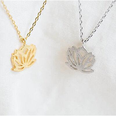 1 x Pullover Halskette Hohl Lotus Kette Necklace Modeschmuck