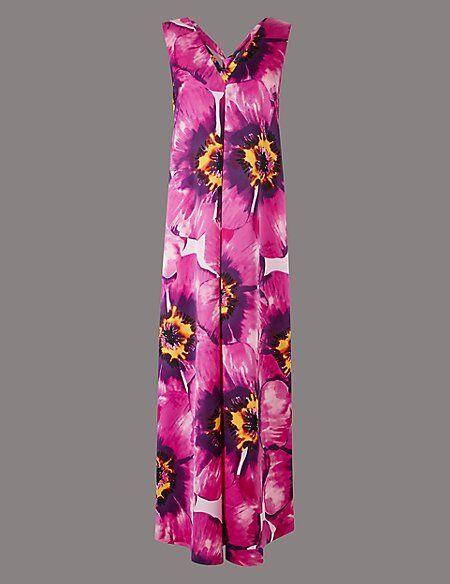 NEW M&S AUTOGRAPH 10 12 PURPLE, FUCHSIA SATIN  SHEEN MAXI DRESS