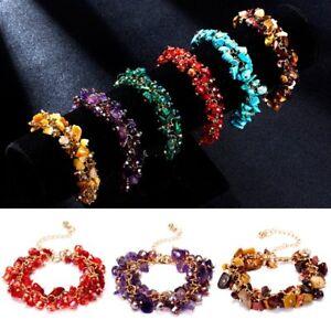 Men-Women-Jewelry-Handmade-Natural-Stone-Chip-Bead-Bangle-Bracelet-Healing-Reiki