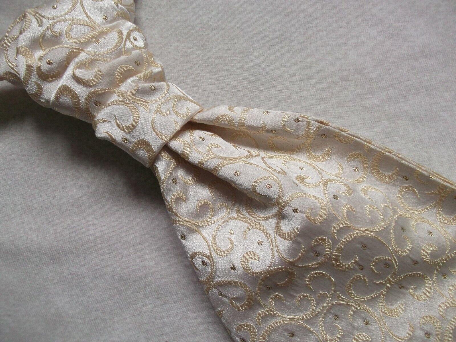 Formal Cravat MENS WEDDING Scrunchie Ruche Pre Tied Adjustable SPARKLING GOLD