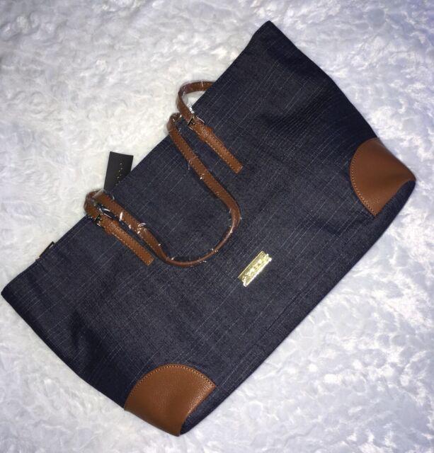 e08c624420c5 bebe Womens Debbie Faux Leather Trim SHOPPER Tote Handbag Denim Large