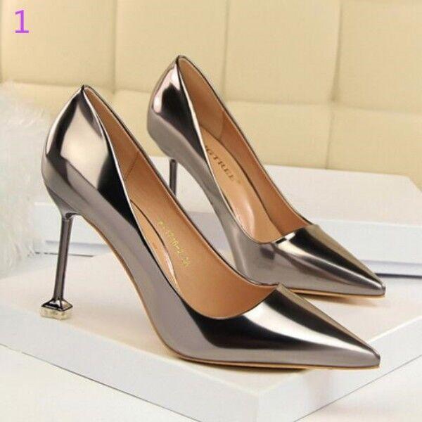 Zapatos de salón mujer plata élégant élégant élégant tacón aguja 9.5 cm perno como piel 8369  ventas calientes