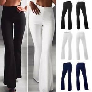 Pantalones De Pierna Ancha Cintura Alta Para Mujer Pantalon Yoga Ocio Informal Ebay