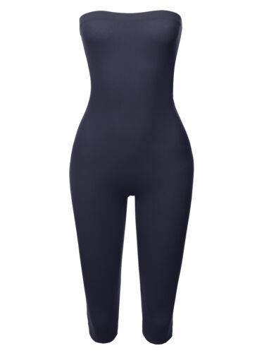 FashionOutfit Women/'s Solid Cotton Spandex Tube Top Bermuda Bodysuit Jumpsuit
