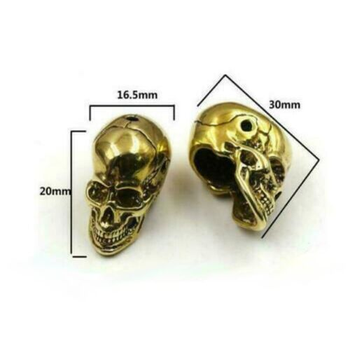 Skull Pendant Craft Bead Lanyard Bead Skull Paracord Beads EDC Solid Brass Gift