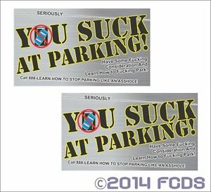 You suck at parking offensive business cards 10 pack printed on 2 image is loading you suck at parking offensive business cards 10 colourmoves