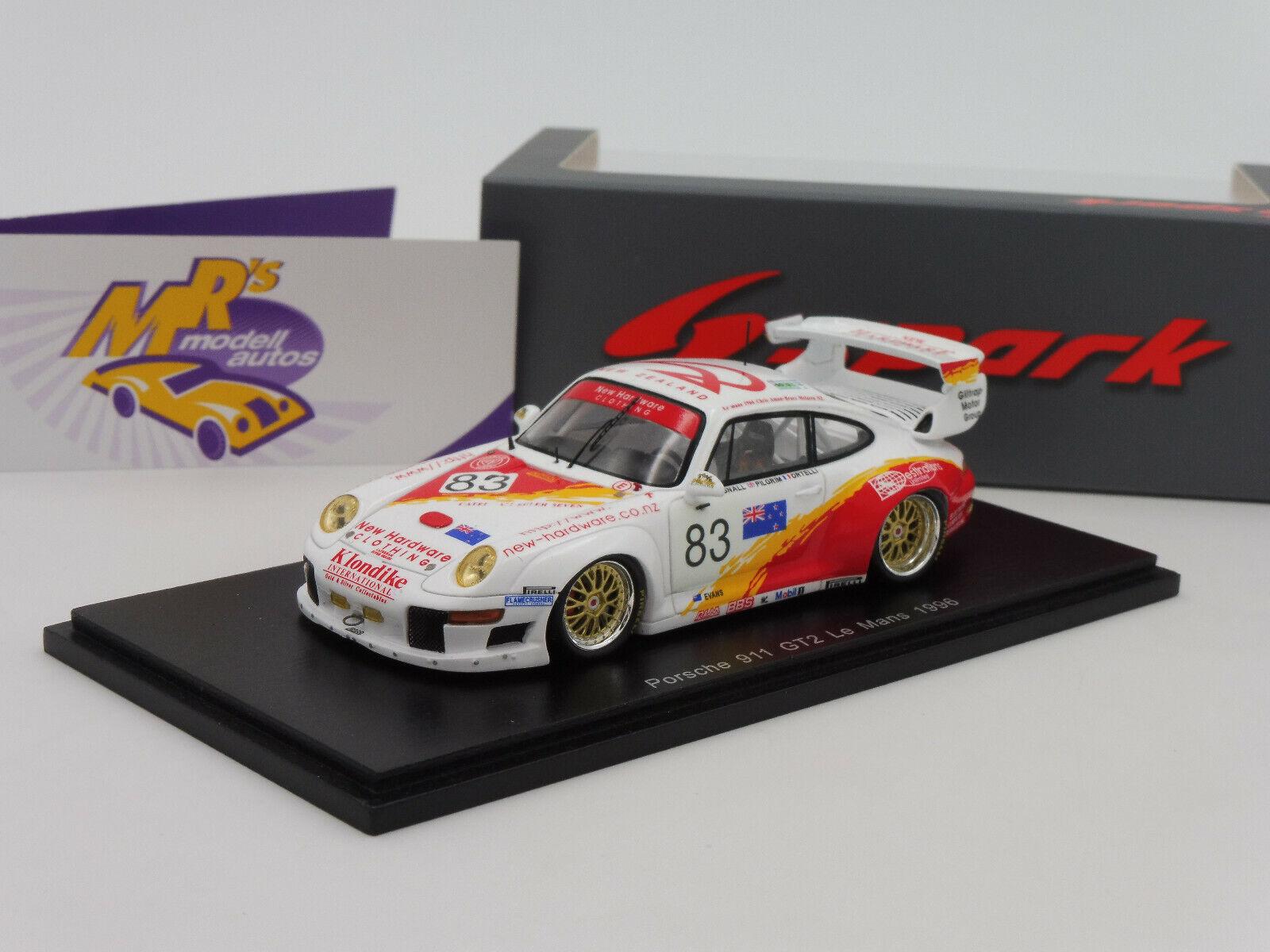 Spark S5528 - Porsche 911 GT2 No. 83 24h. Le Mans 1996   A. Bagnall   1 43 NEU