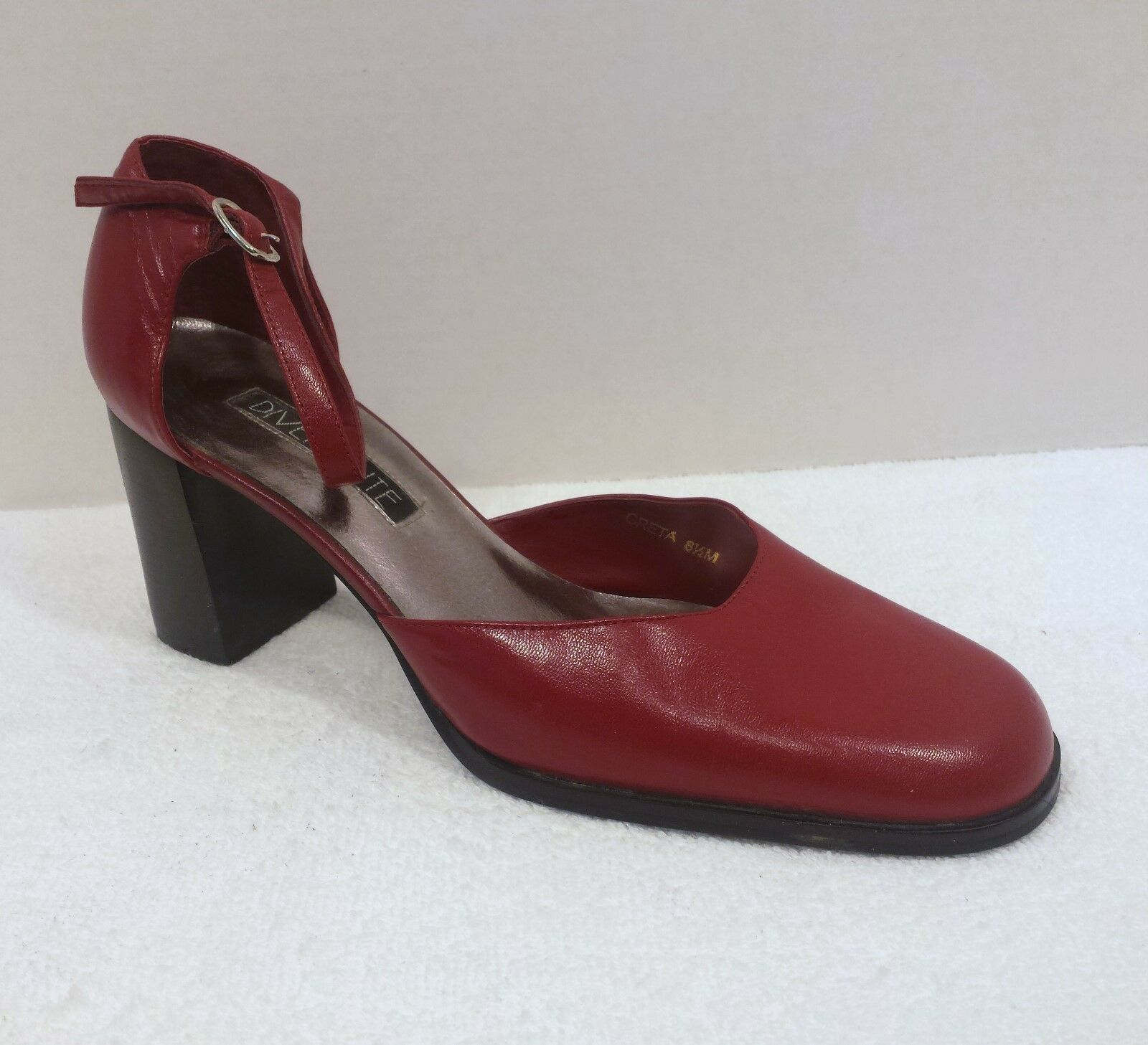 Digreenente Greta Womens 8.5 M Red Leather Stack Heel Ankle Strap Closed Toe