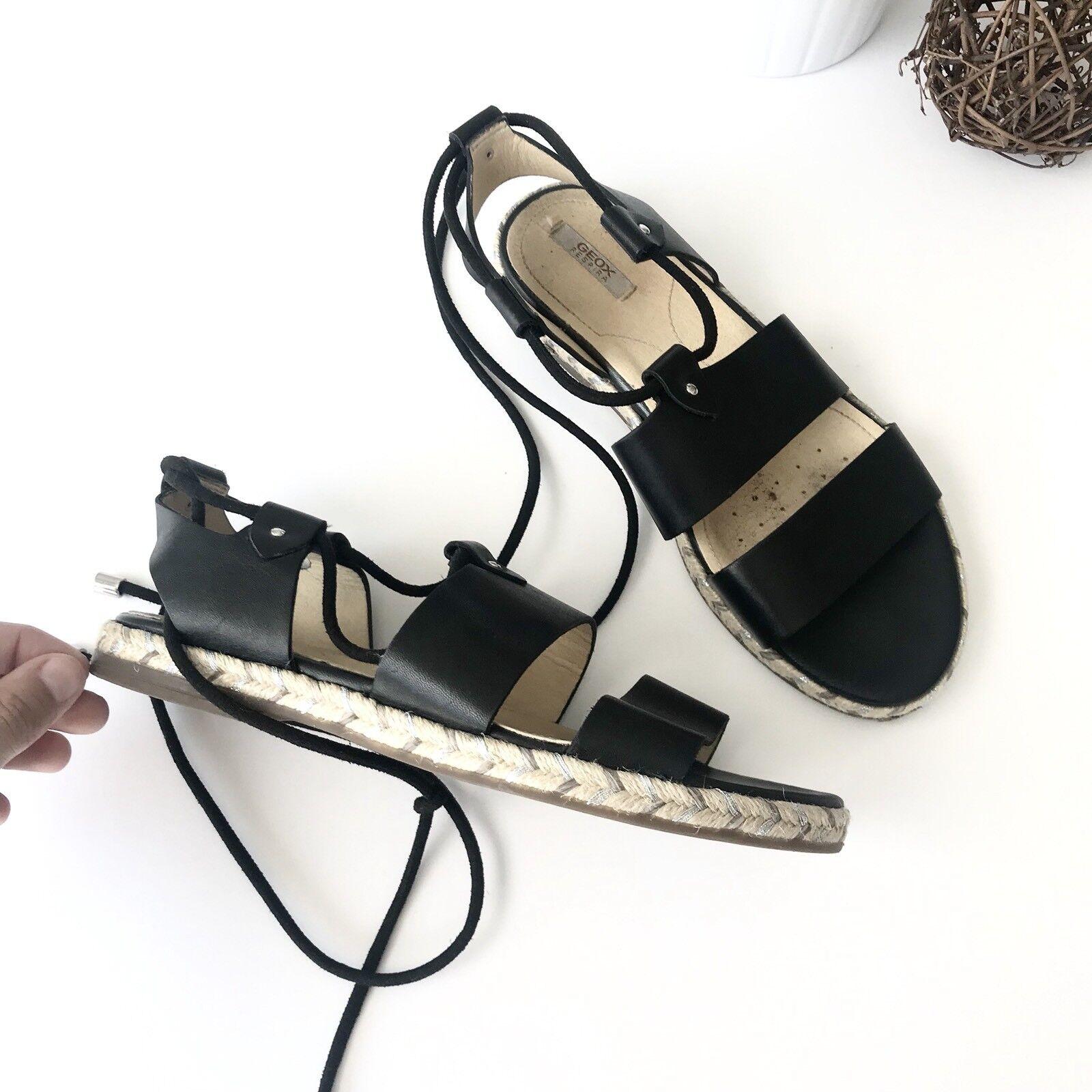 GEOX RESPIRA Women's 36 Black Leather Open Toe Ankle Wrap Flat Sandals