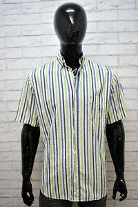 Camicia-a-Righe-Uomo-PAUL-amp-SHARK-Taglia-40-L-Maglia-Manica-Corta-Shirt-Man