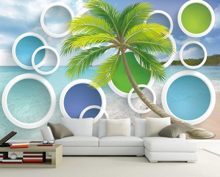 3D Strände, Tropische bäume 9 Fototapeten Wandbild Fototapete BildTapete Familie