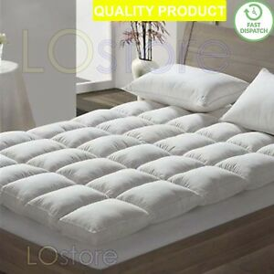 NEW-LUXURY-HOTEL-EXTRA-COMFORT-SOFT-GOOSE-FEATHER-amp-DOWN-MATTRESS-TOPPER-COVER