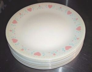 Image is loading Corning-Corelle-FOREVER-YOURS-12-Pink-Heart-Design- & Corning Corelle FOREVER YOURS (12) Pink Heart Design 10.25\