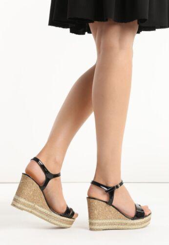 Damen Keilabsatz Sandalen Wedge Sandaletten Peeptoes Lack Glitzer Gold BA3007