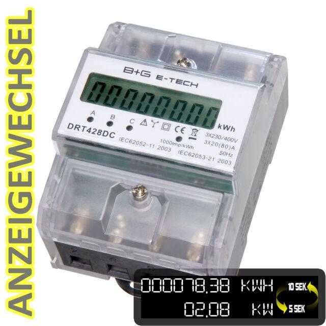***PORTOFREI*** digitaler LCD Drehstromzähler Stromzähler mit S0, 3x20(80)A