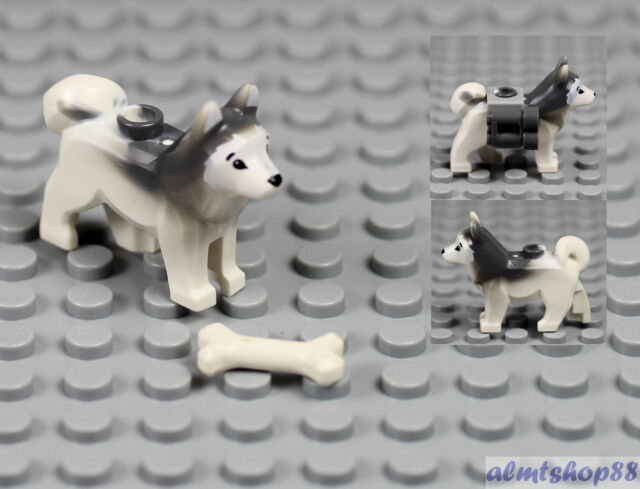 2x White Gray Husky Sled Dog w// Fish Plate Animal Minifigure Wolf Arctic LEGO
