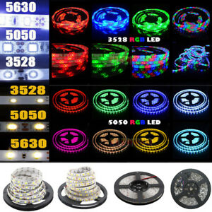 5M-300-LED-Strip-Light-3528-5050-5630-SMD-RGB-Ribbon-Tape-Roll-Waterproof-DC-12V