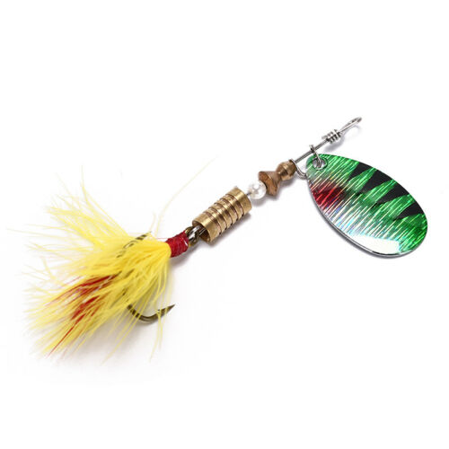 spoon metal fishing lure bait bass fishing bait tackle hook with feathers P`B