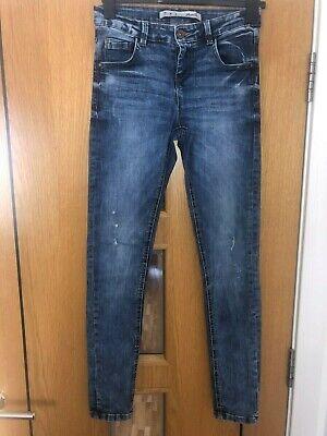 Sincero Denim Blu Jeans Con Effetto Invecchiato Company-mostra Il Titolo Originale
