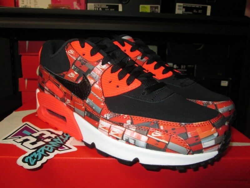 SALE NIKE AIR MAX 90 ATMOS WE LOVE BLACK BRIGHT CRIMSON AQ0926 001 NEW 2018